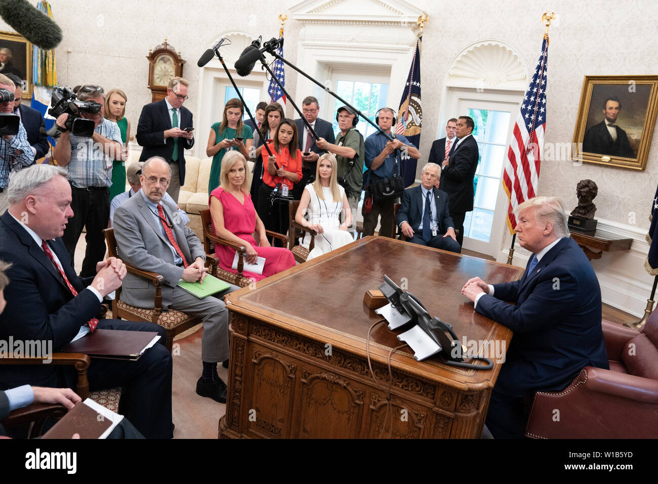 Washington, United States Of America. 25th June, 2019. President Donald J. Trump participates in a fentanyl epidemic update meeting Tuesday, June 25, 2019, in the Oval Office of the White House People: President Donald Trump Credit: Storms Media Group/Alamy Live News Stock Photo