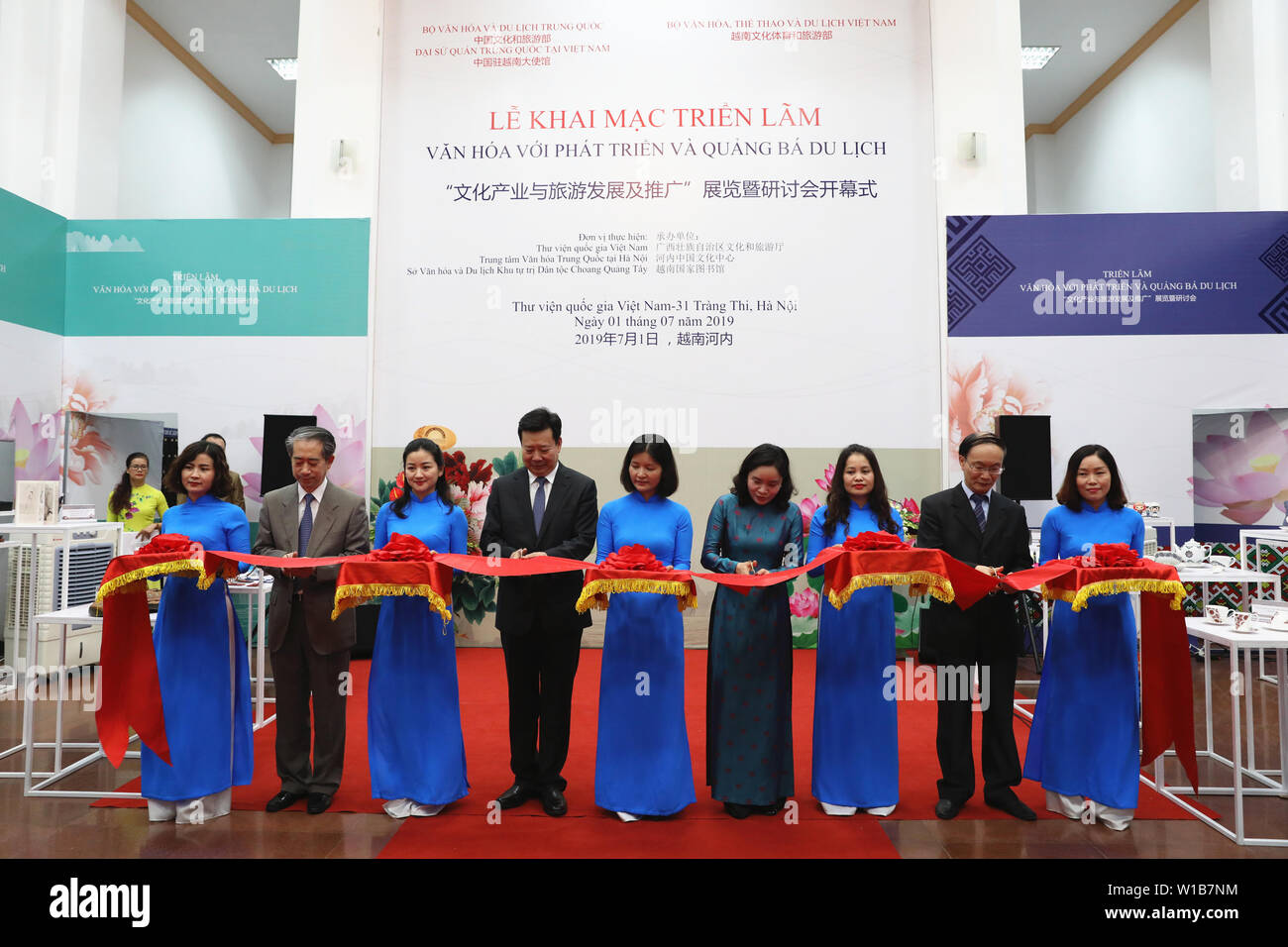Hanoi, Vietnam  1st July, 2019  Guests cut the ribbon at the