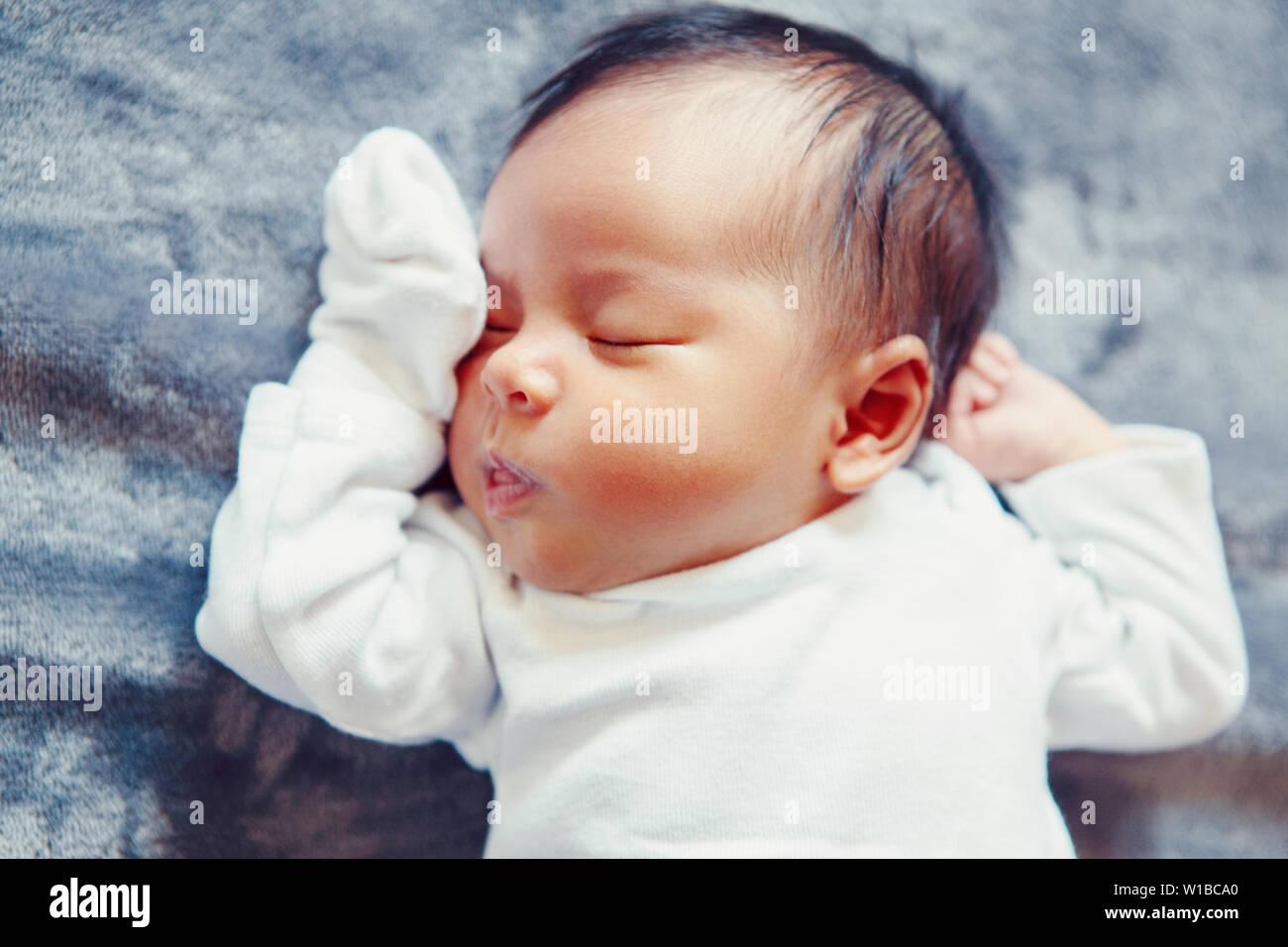 6b00f88641285 Closeup portrait of cute adorable sleeping Asian Chinese mixed race ...