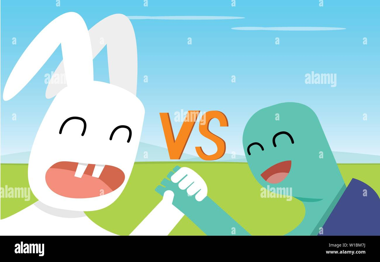 Closeup Rabbit and Turtle shake hands, vector art design - Stock Image