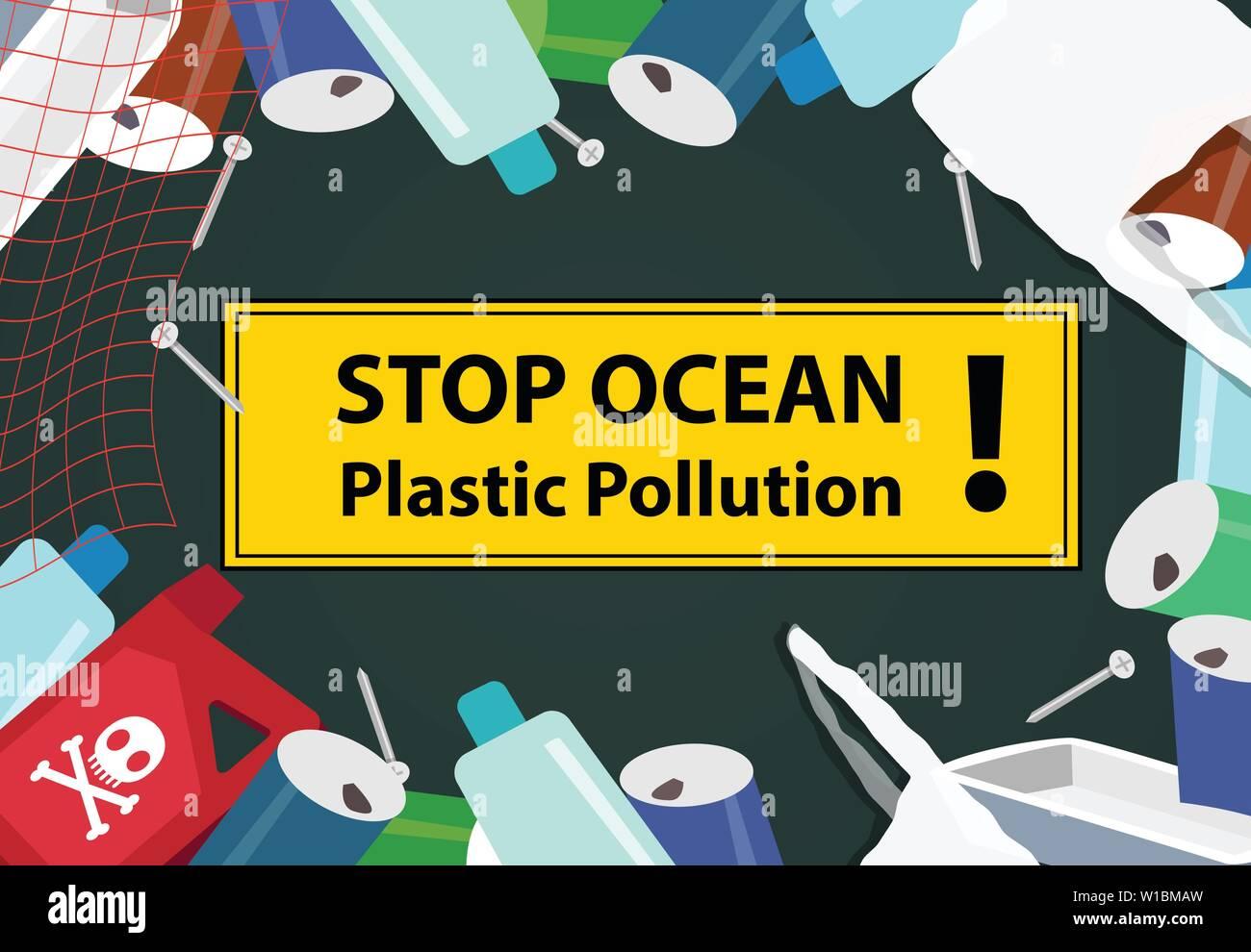 Stop ocean plastic pollution background with junk, vector Stock Vector