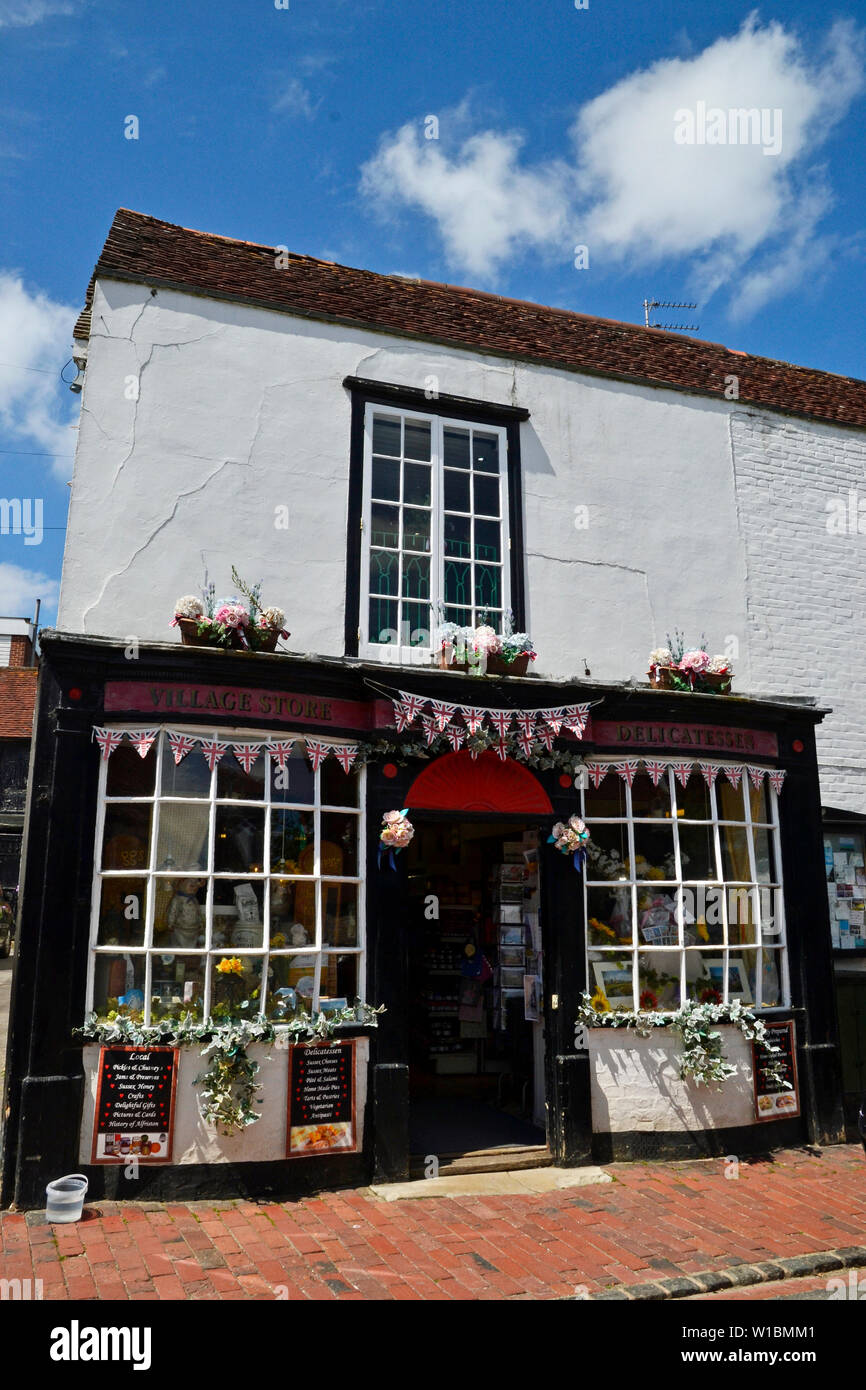 Village Store and Delicatessen, Alfriston, East Sussex, UK - Stock Image
