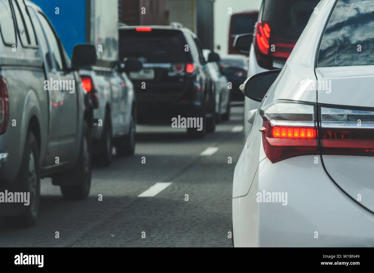Traffic jams on the highway in Bangkok, Thailand. - Stock Image