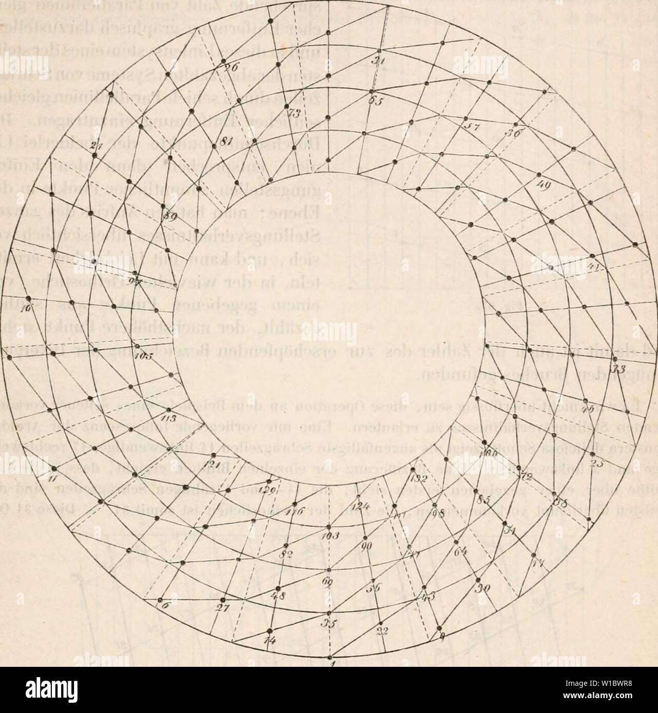 Archive image from page 464 of Die Lehre von der Pflanzenzelle. Die Lehre von der Pflanzenzelle . dielehrevonderpf00hofm Year: 1867  § 9. Stellungsverhältnissp lateraler Sprossnngen der nämlichen Arhse etr 443 ;ung loder aus sich Netz aus zwei Systemen sich kreuzender Parallellinien verschiedene kreuzenden Spiralen von zweierlei Enge der Windung , deren Neigungswinkel denen des Oh jects möglichst ähnlich ist, und in welche man die ZitTern der Glieder provisorisch einträgt.    Nach geschehener Bezifferung einer massigen Zahl von (iUedern, die eine der Längsachse des Systems parallel verlängerte - Stock Image
