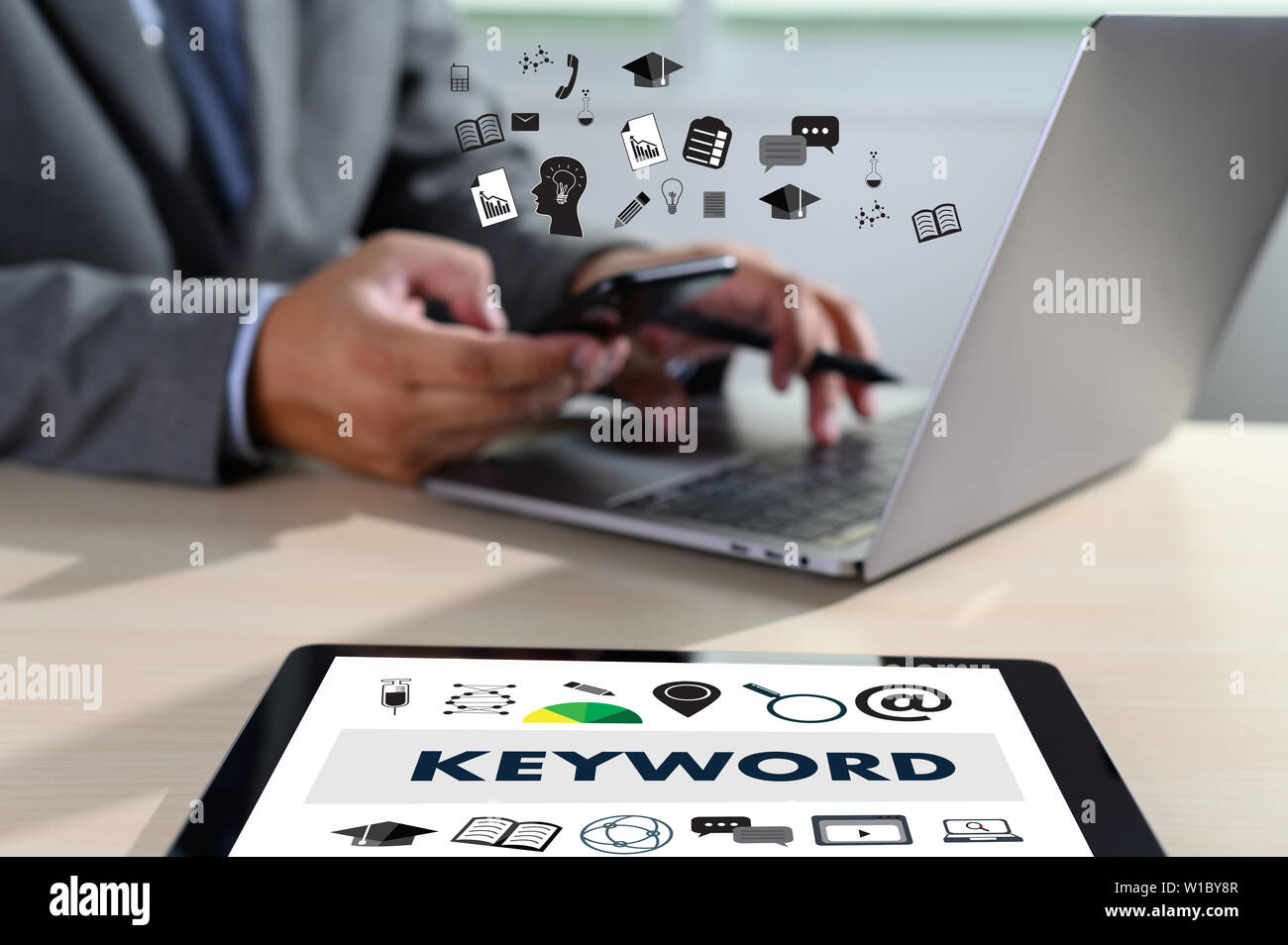 Keywords Research COMMUNICATION research, on-page optimization, seo - Stock Image