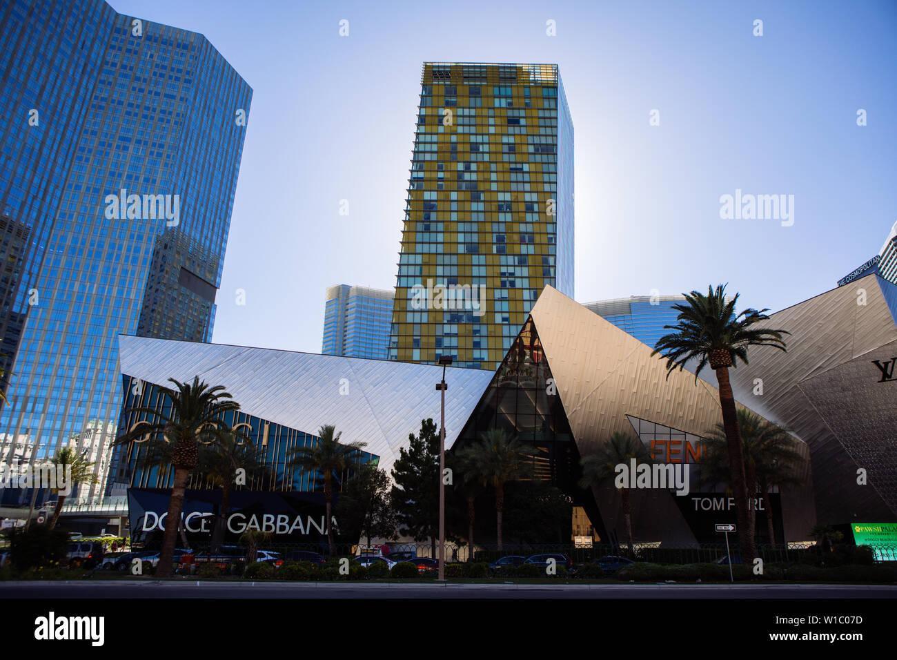 The Crystals, AKA Crystals at CityCenter and Crystals Retail District, Dolce & Gabbana, Fendi, etc, Las Vegas Blvd, The strip, Las Vegas, Nevada, USA - Stock Image