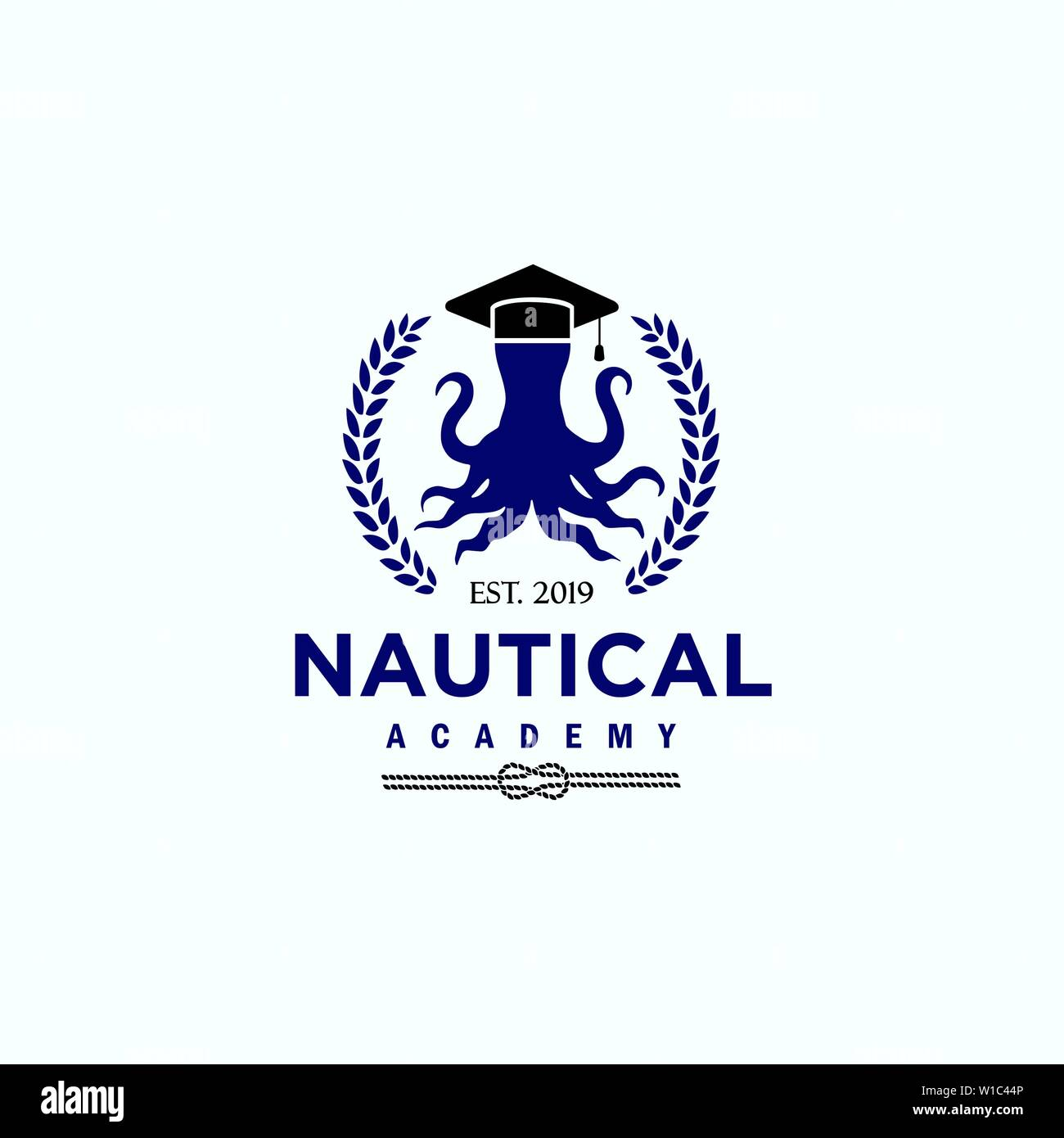 Logo template for nautical education related business - Stock Image