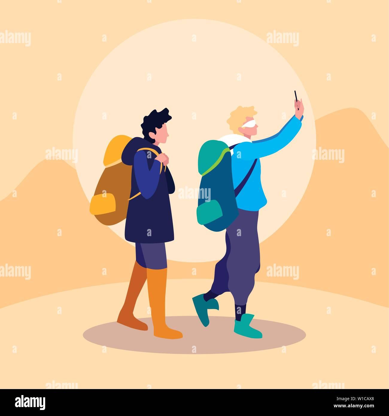 avatar character design young men traveller avatar character vector illustration