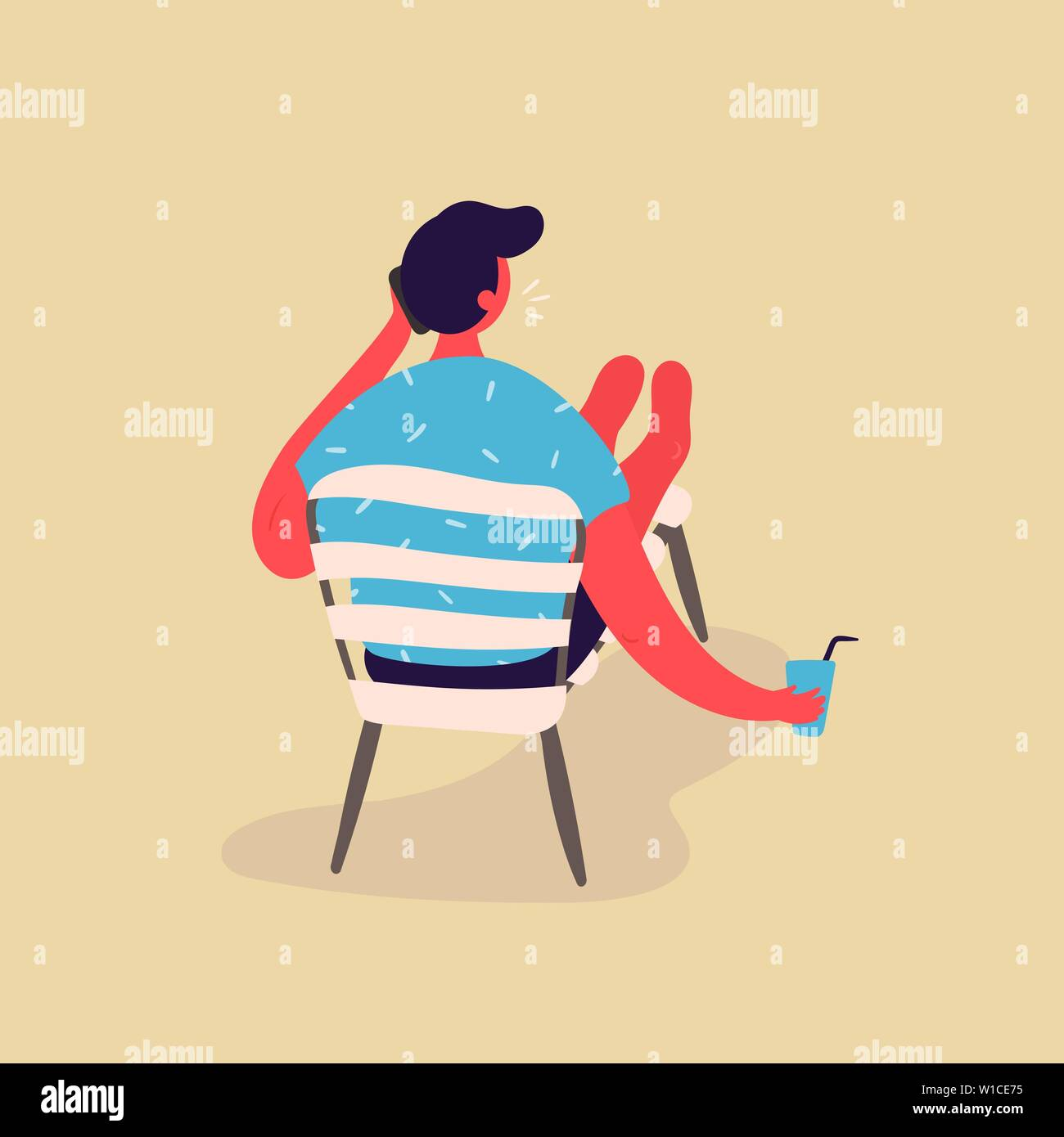 The young man resting while sitting on a chaise lounge, drinking water and talking on the phone. The young man vacationing in beach clothes. The man i Stock Vector
