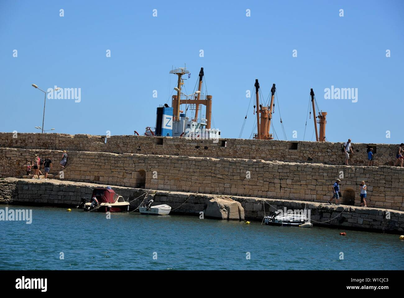 Part of the pier in the old port of Rethimnon, Crete, Greece. Stock Photo