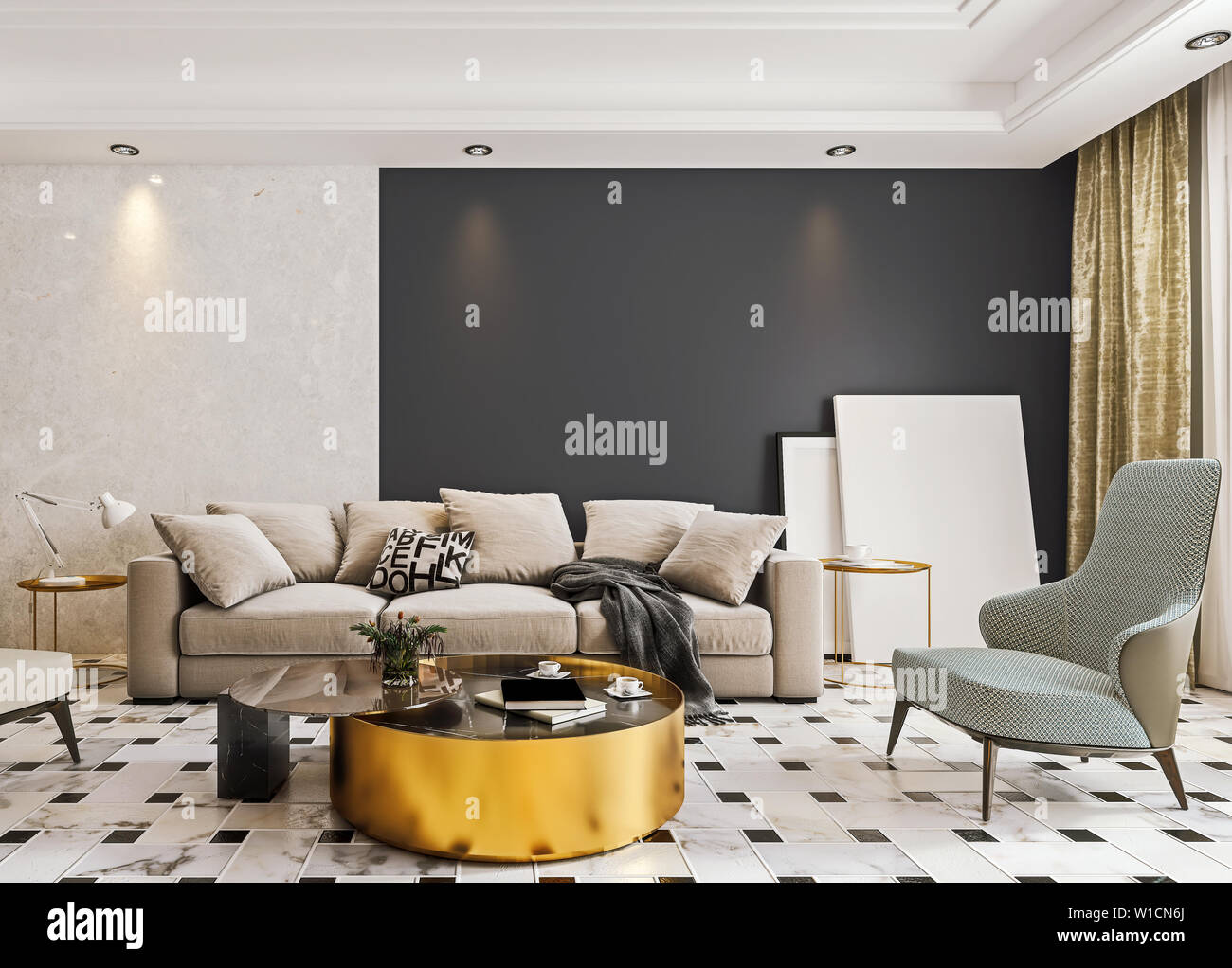 Modern Interior Design Of Living Room With Marble Flooring And Large Glass Door With Terrace Dropped Suspended Ceiling 3d Rendering Stock Photo Alamy