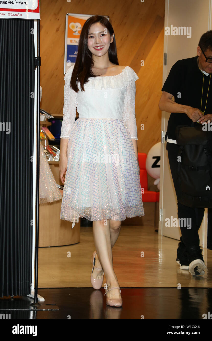 HYOJUNG(OH MY GIRL), July 1, 2019 : K-pop girls group OH MY GIRL attends 'M-ON! X OH MY GIRL Special Event' in Tokyo, Japan on July 1, 2019. Credit: Pasya/AFLO/Alamy Live News - Stock Image