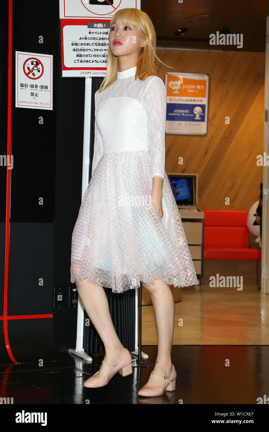 MIMI(OH MY GIRL), July 1, 2019 : K-pop girls group OH MY GIRL attends 'M-ON! X OH MY GIRL Special Event' in Tokyo, Japan on July 1, 2019. Credit: Pasya/AFLO/Alamy Live News - Stock Image