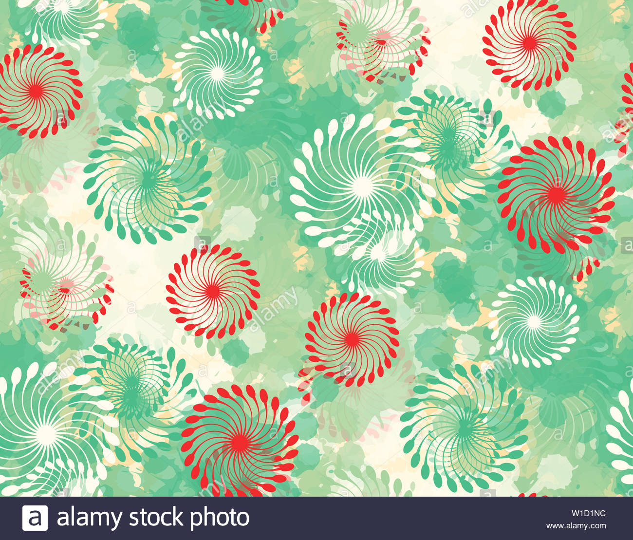 Abstract Floral Wallpaper Pattern With Helix Flowers In Green Red