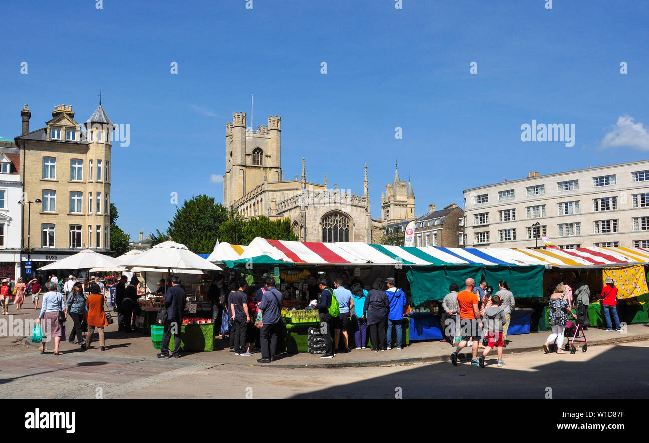 The Market and Great St Mary's Church, Cambridge, England, UK - Stock Image