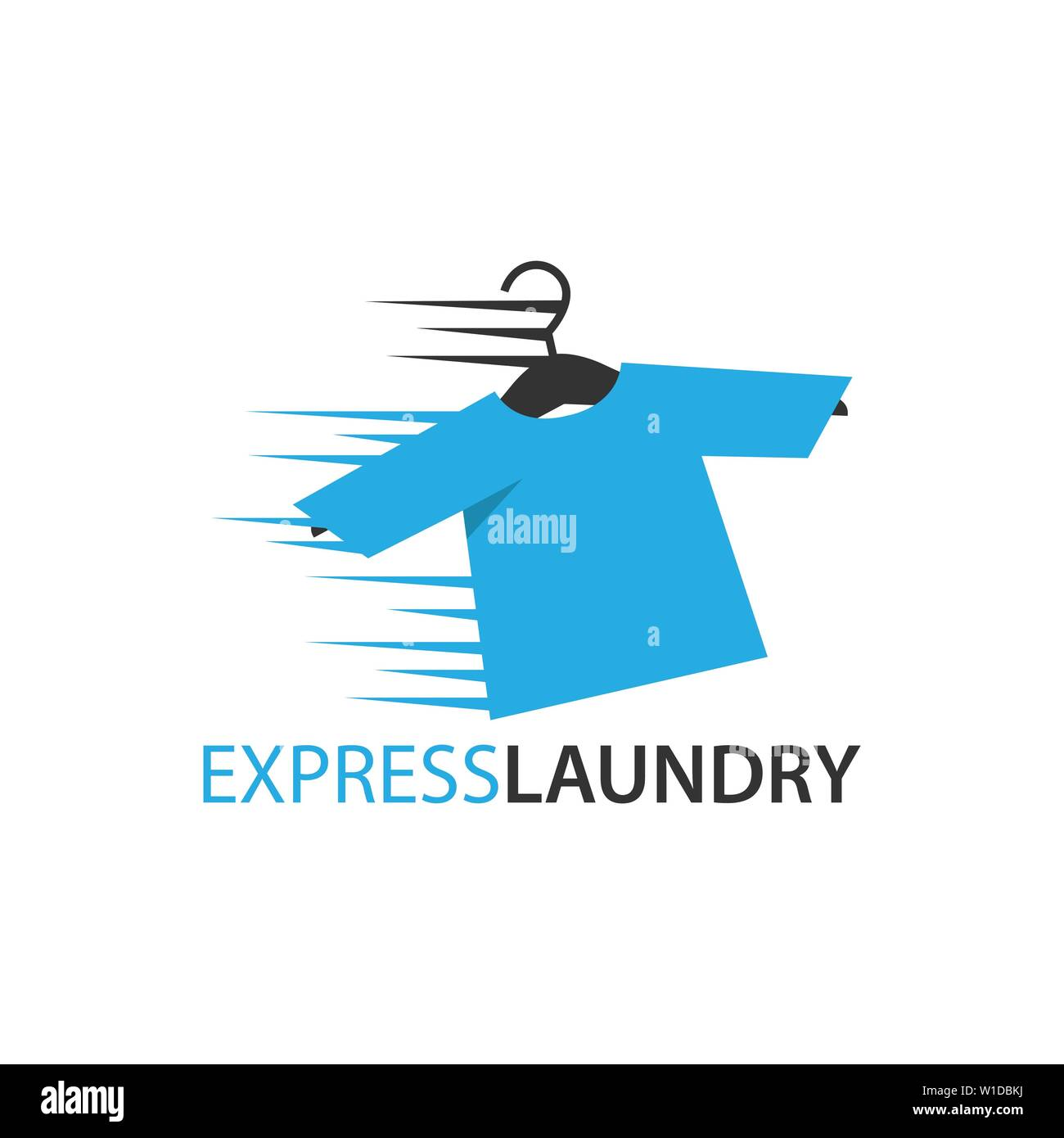 Express dry cleaning icon, laundry flat design logo - Stock Image