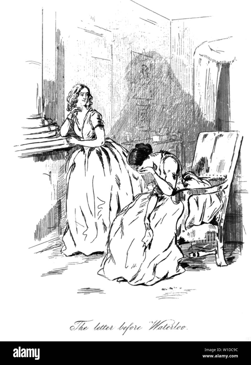 WILLIAM MAKEPEACE THACKERAY (1811-1863) British novelist. One of his engravings for Vanity Fair. Stock Photo