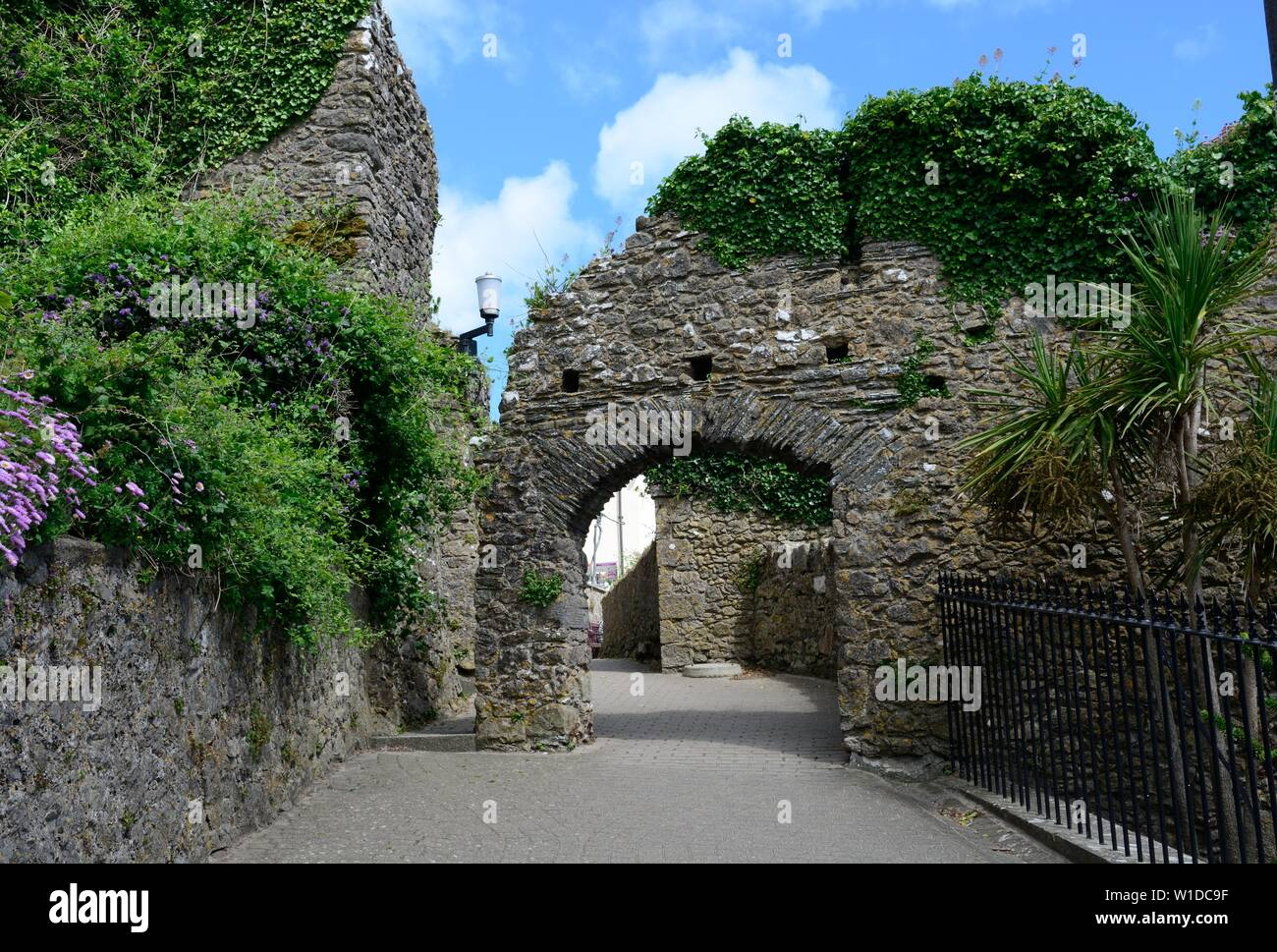 Tenby Medieval town wall Grade 1 listed medieval defence system Pembrokeshire Wales Cymru UK Stock Photo