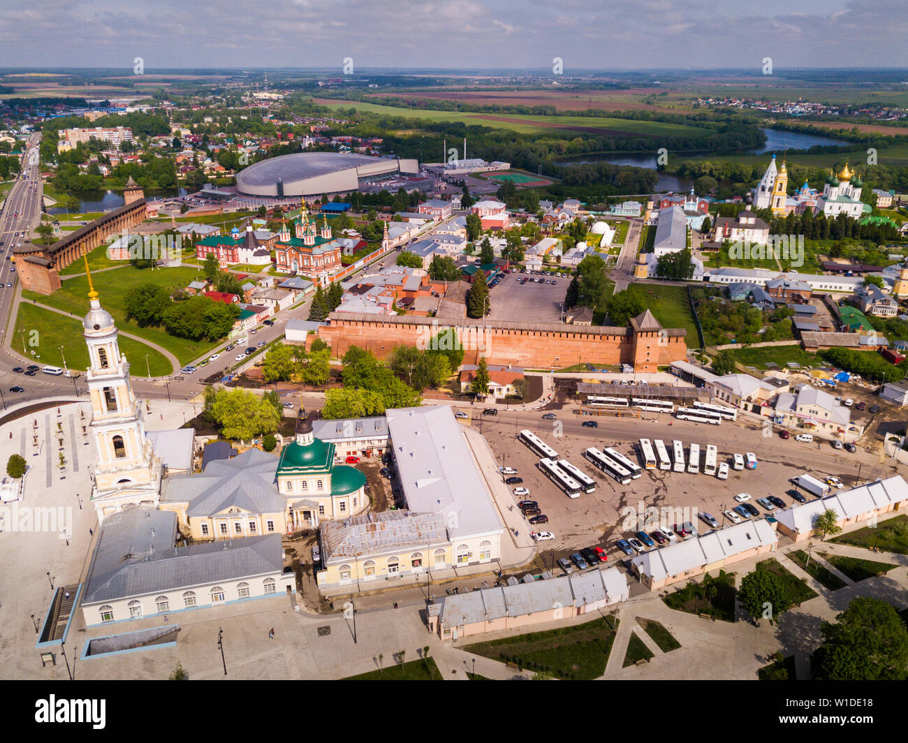Aerial view of modern cityscape of Kolomna overlooking ancient Kremlin and Speed Skating Center, Russia Stock Photo
