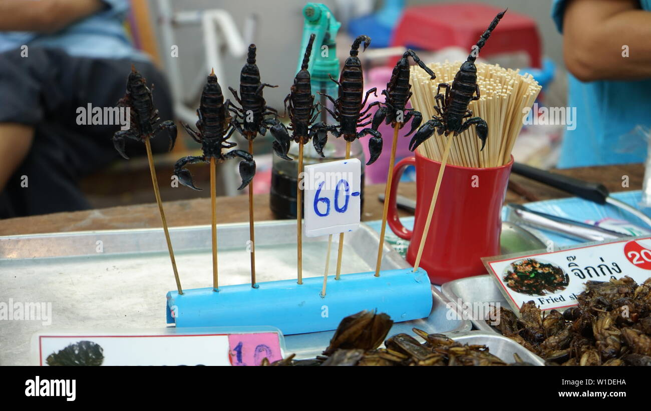 Street food scorpions - Stock Image