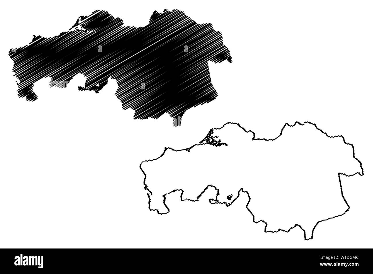 North Brabant province (Kingdom of the Netherlands, Holland) map vector illustration, scribble sketch Brabant map Stock Vector