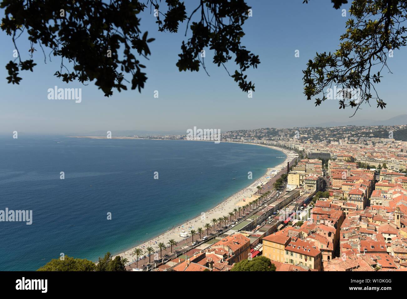 Nice France aerial view antique panoramic albumen photo