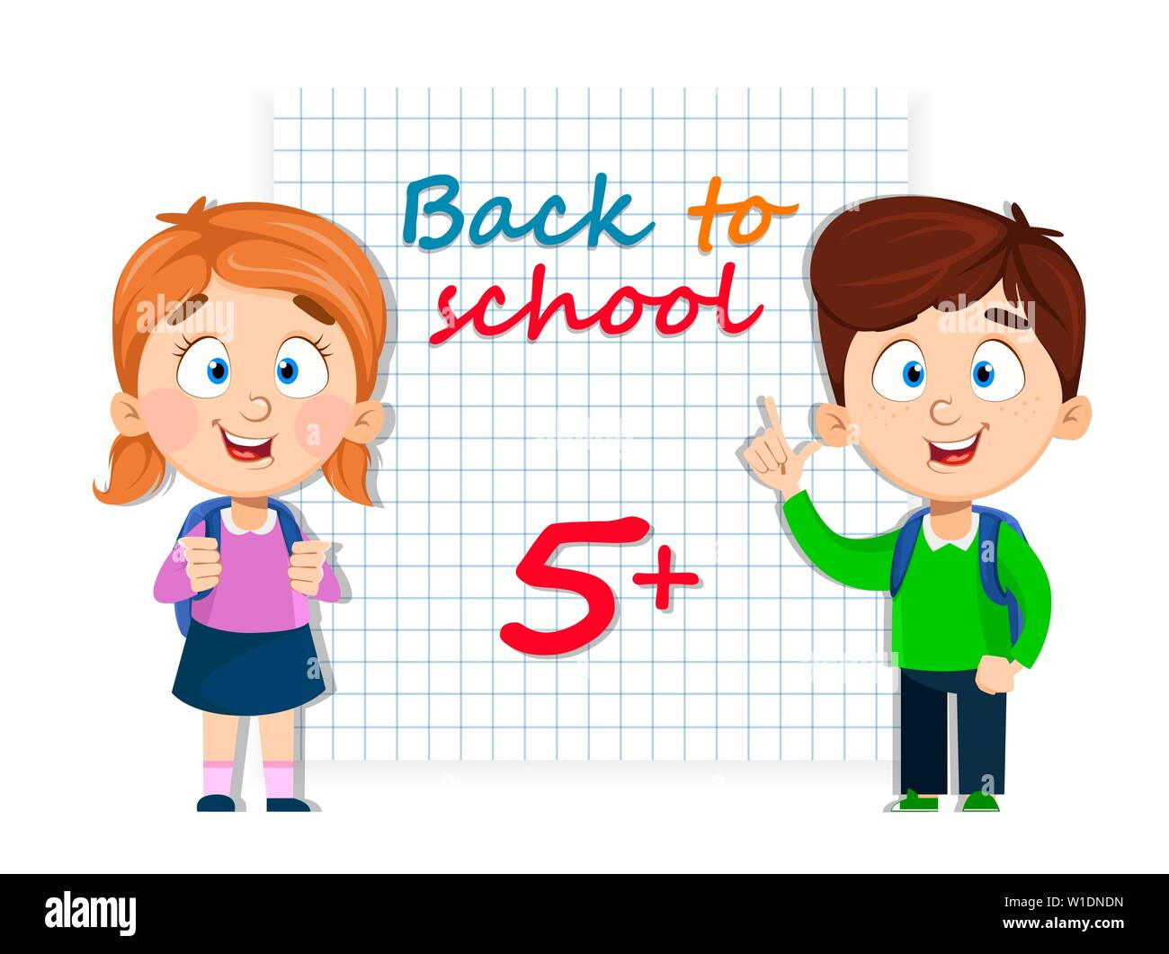 Back To School Cute Girl And Boy With Backpacks Funny Cartoon Character Vector Illustration Stock Vector Image Art Alamy