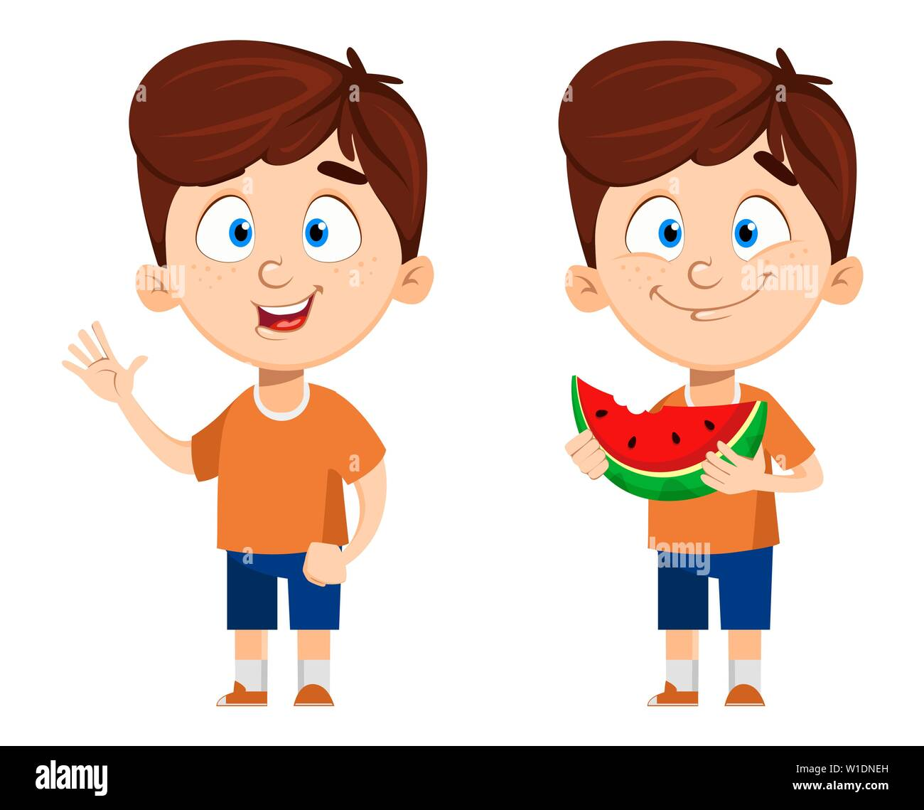 c609f9073 Boy cartoon character, set of two poses. Cute funny child eating ...