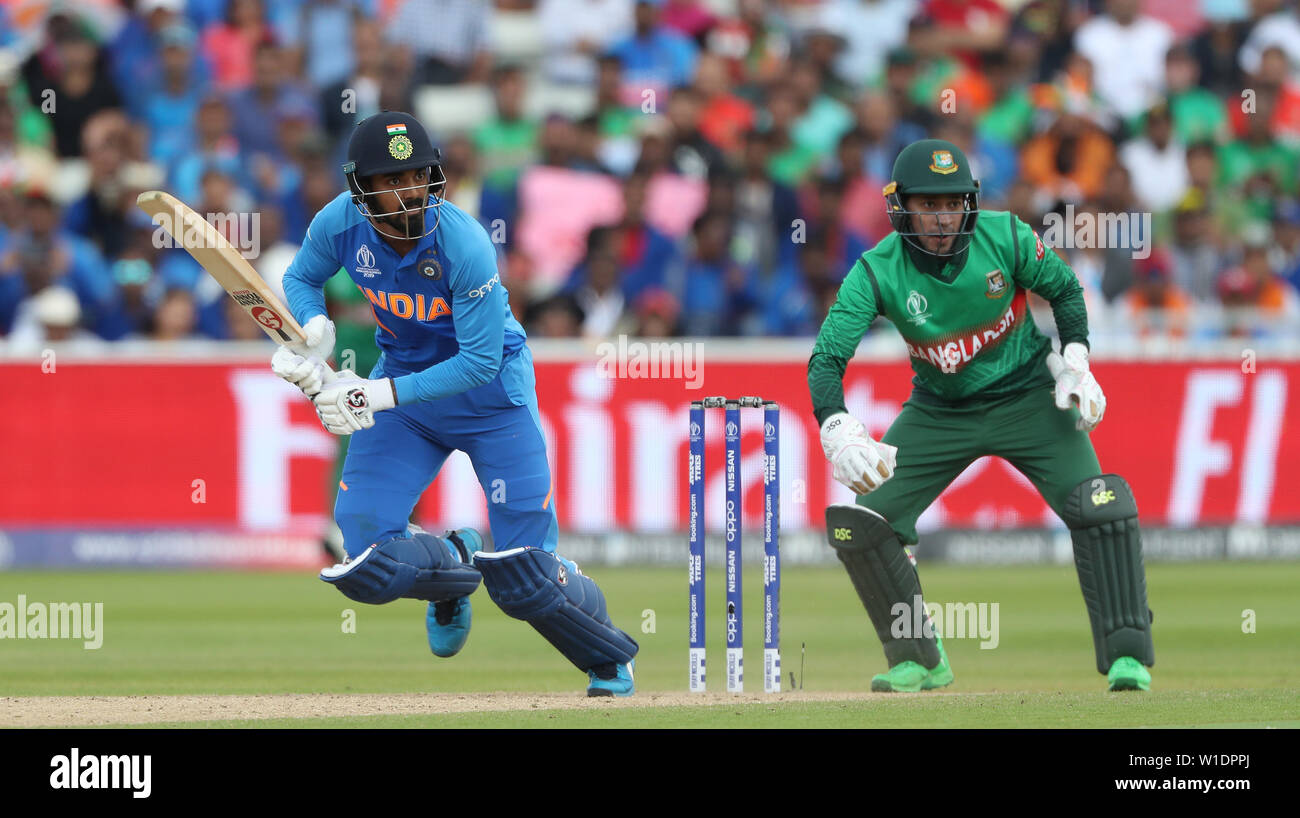 India's KL Rahul bats during the ICC Cricket World Cup group stage match at Edgbaston, Birmingham. - Stock Image