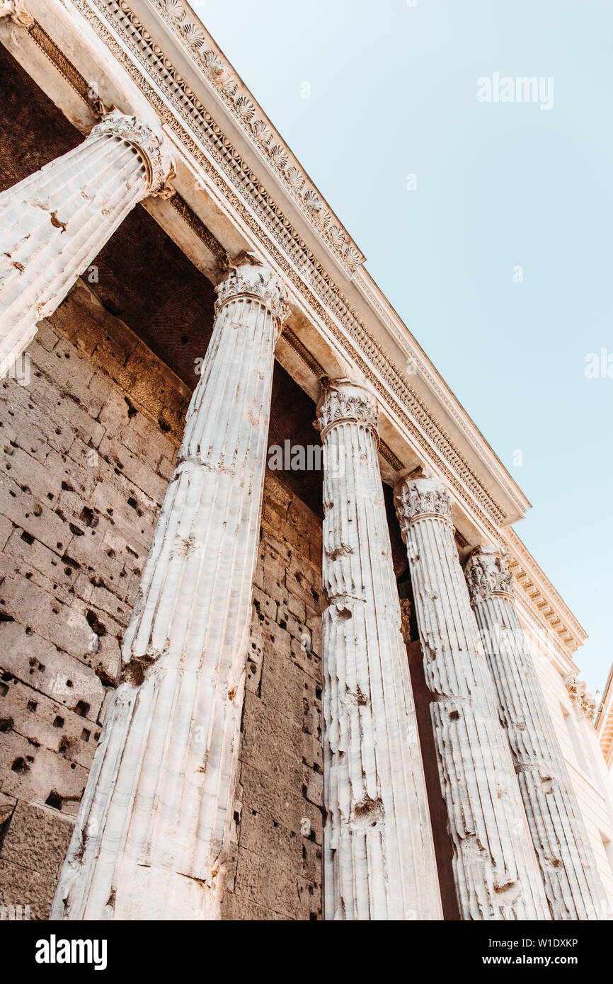 Detail of entablature and columns from The Temple of Hadrian, in Rome, Italy. - Stock Image