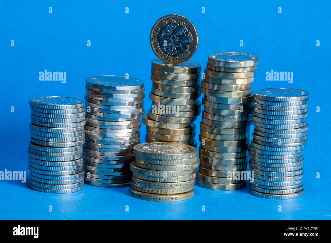 English Currency Stacks of Coins - Stock Image