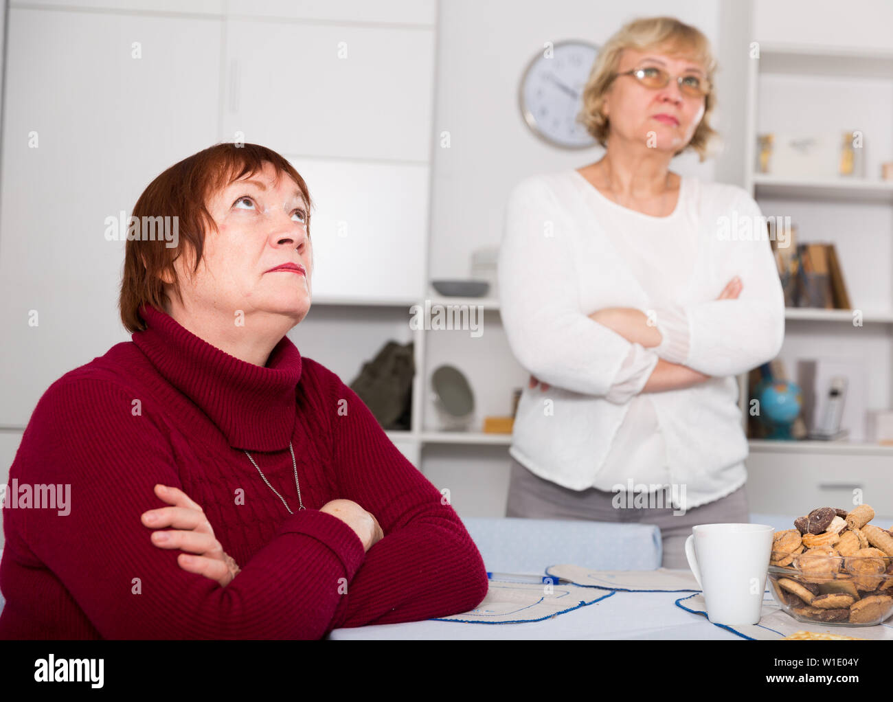 Upset mature woman dont speaking after discord with female friend - Stock Image