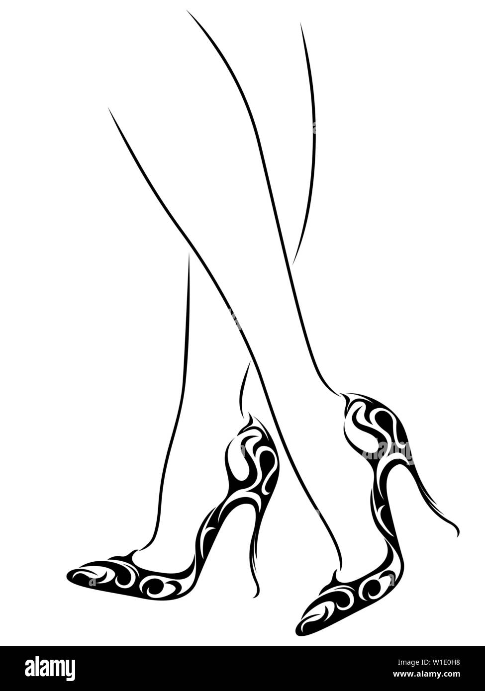 outline of graceful female feet in abstract shoes with high heels black over white vector artwork stock vector image art alamy https www alamy com outline of graceful female feet in abstract shoes with high heels black over white vector artwork image259077988 html