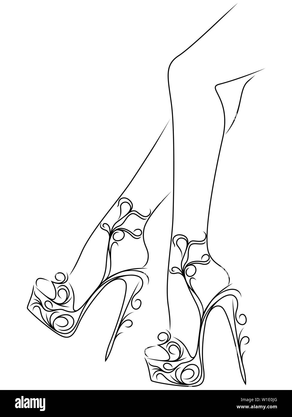 Sketching Outline Of Graceful Female Feet In Abstract Floral