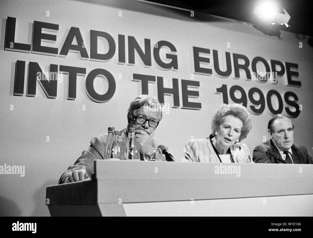 Foreign Secretary Sir Geoffrey Howe (l), prime Minister Margaret Thatcher and Conservative Party chairman Peter Brook at the Conservative Party's European Election Campaign Press Conference in London. - Stock Image