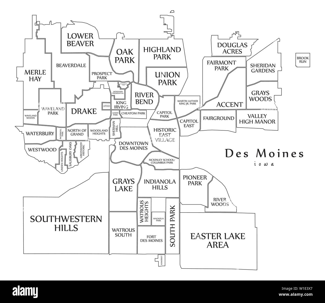 Modern City Map - Des Moines Iowa city of the USA with ...