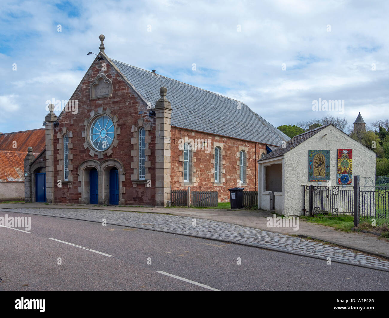 The Victoria Hall, High Street, Cromarty, Black Isle, Scotland. A 19th Century drill hall now used for community events. Stock Photo