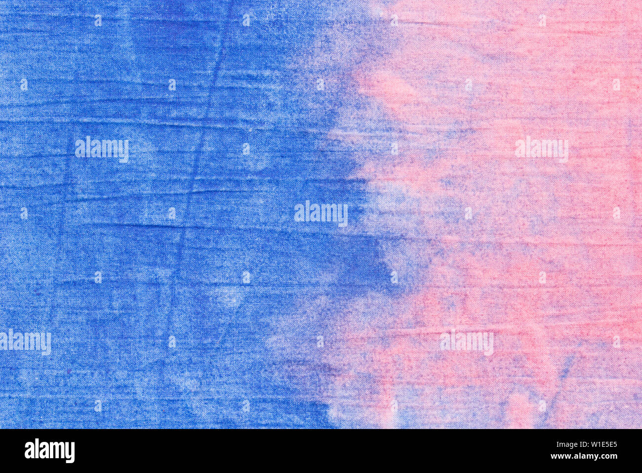 pink and blue color painted textile background - Stock Image