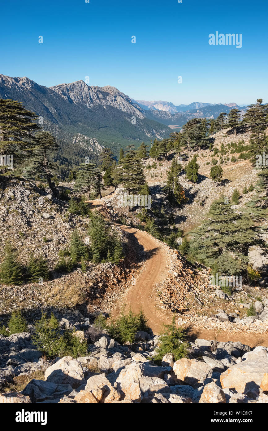 Mountain landscape of the Lycian way trail near Mount Olympos or Tahtali near Antalya, Turkey - Stock Image