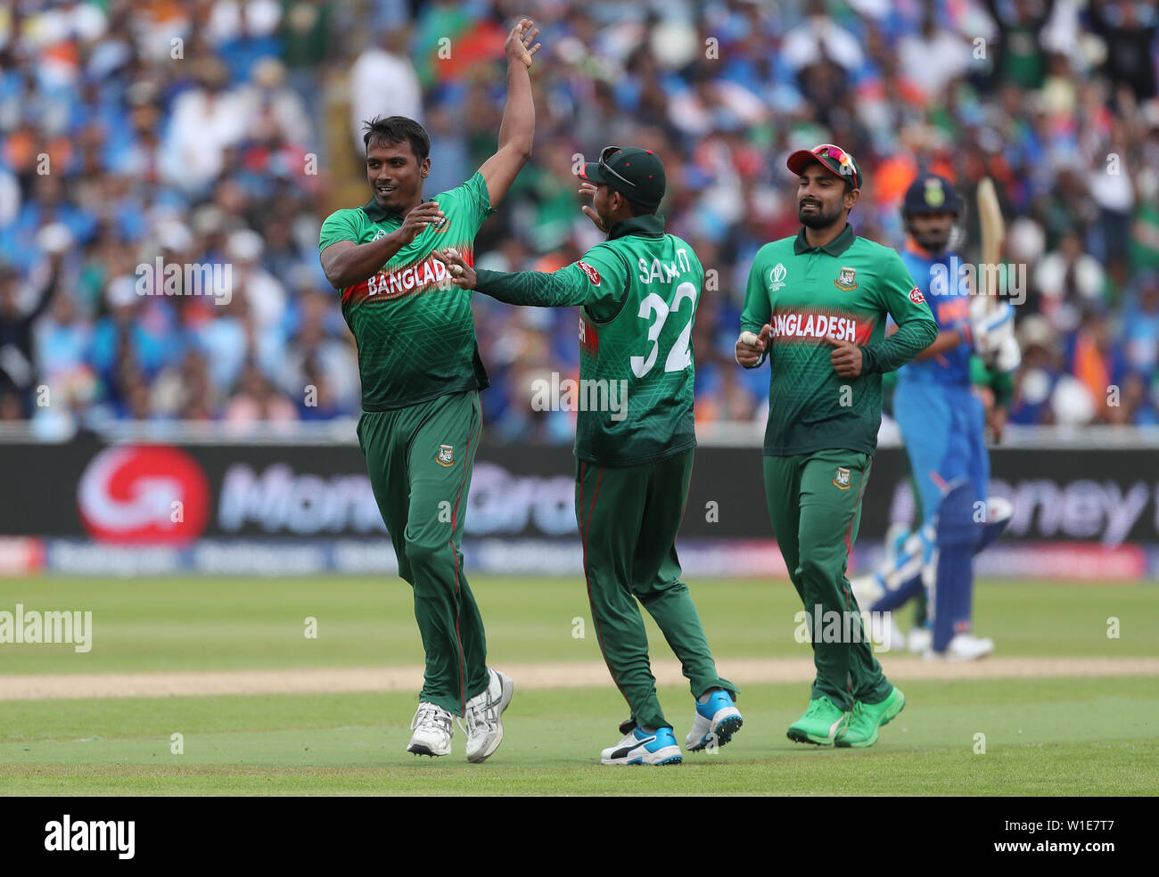 Bangladesh's Rubel Hossain celebrates the wicket of India's KL Rahul during the ICC Cricket World Cup group stage match at Edgbaston, Birmingham. - Stock Image