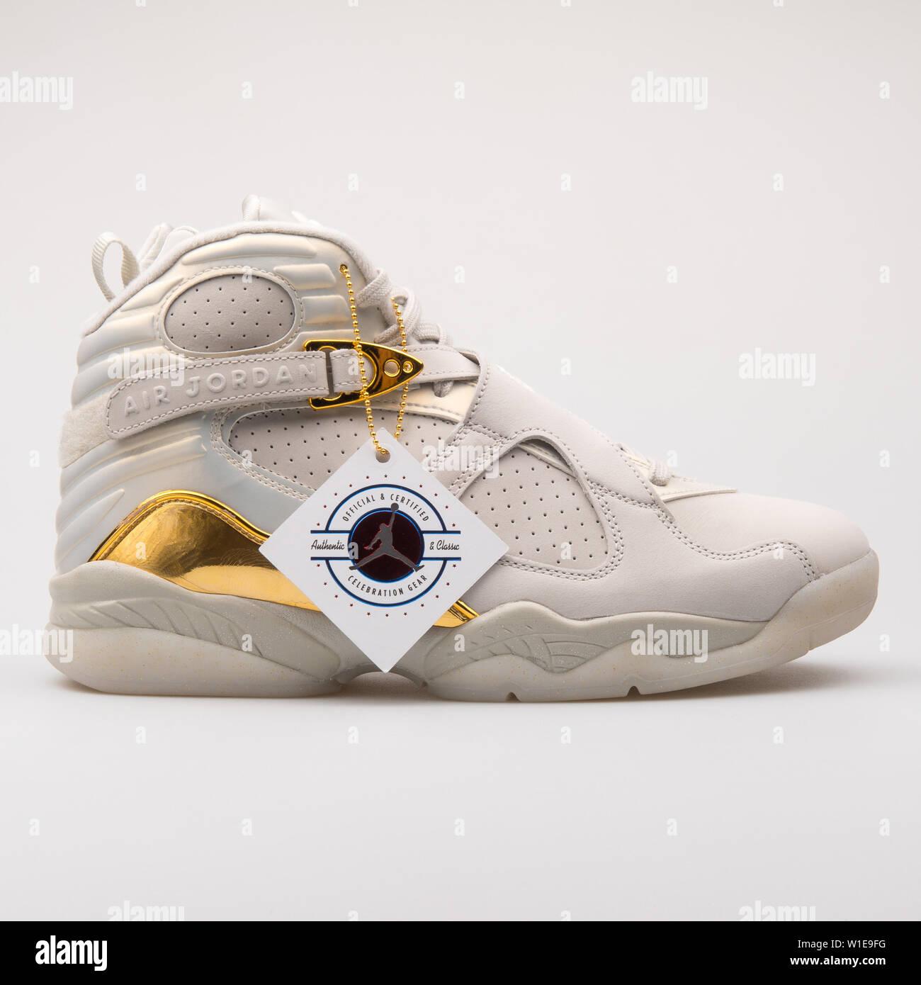 VIENNA, AUSTRIA JUNE 14, 2017: Nike Air Jordan 8 Retro white,..