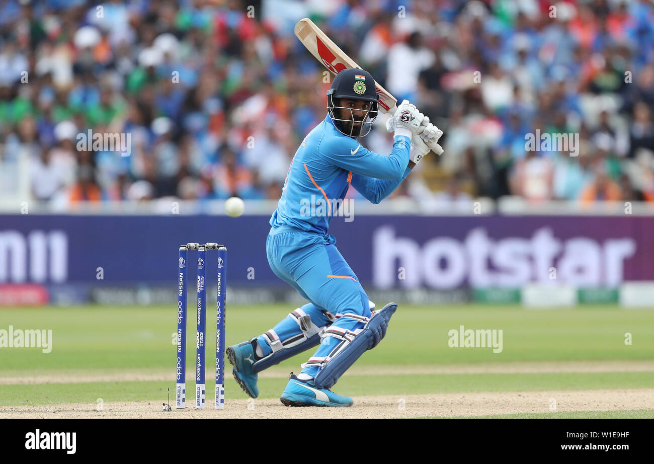 India's KL Rahul during the ICC Cricket World Cup group stage match at Edgbaston, Birmingham. - Stock Image