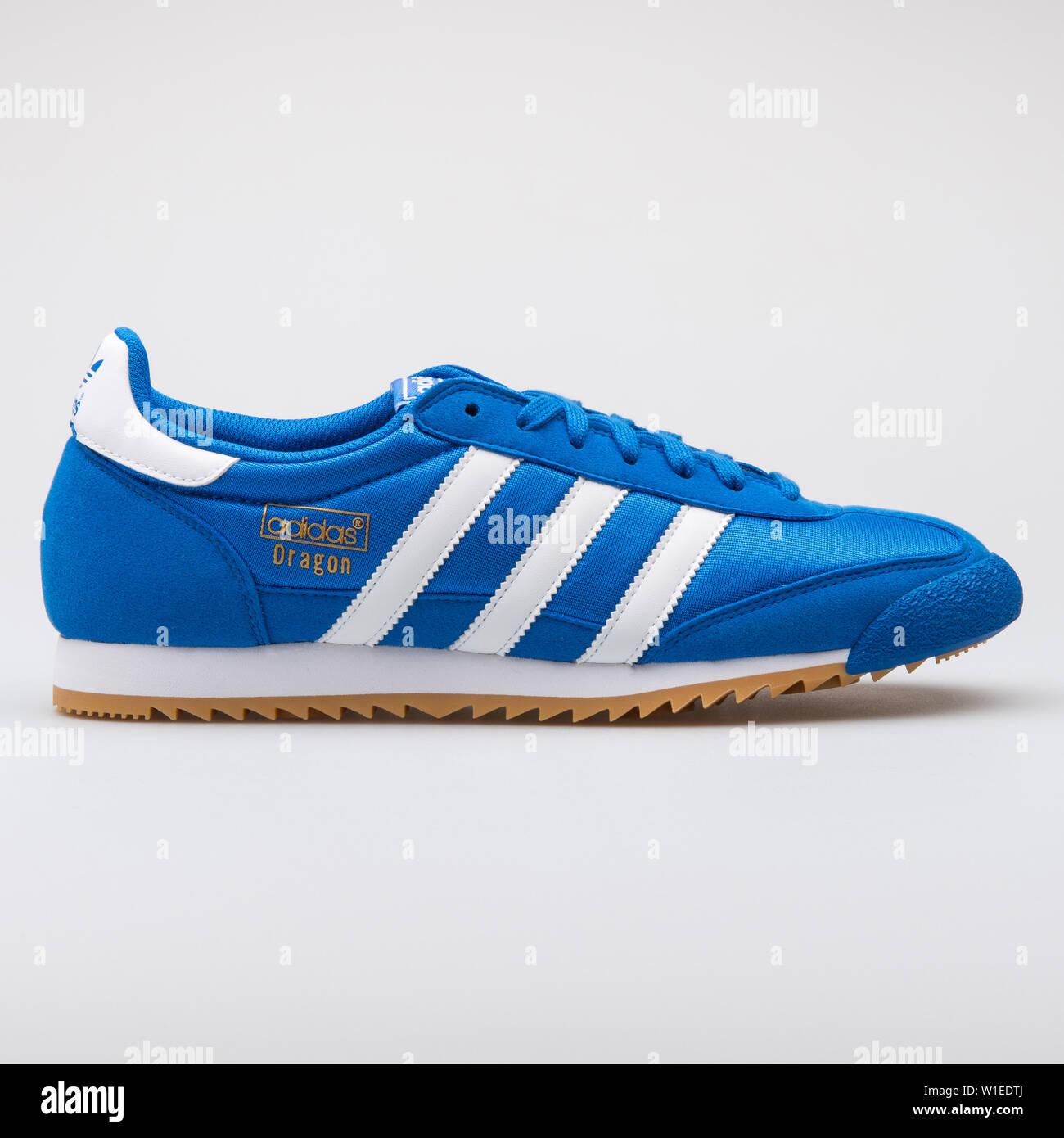 VIENNA, AUSTRIA - AUGUST 7, 2017: Adidas Dragon OG blue sneaker on ...