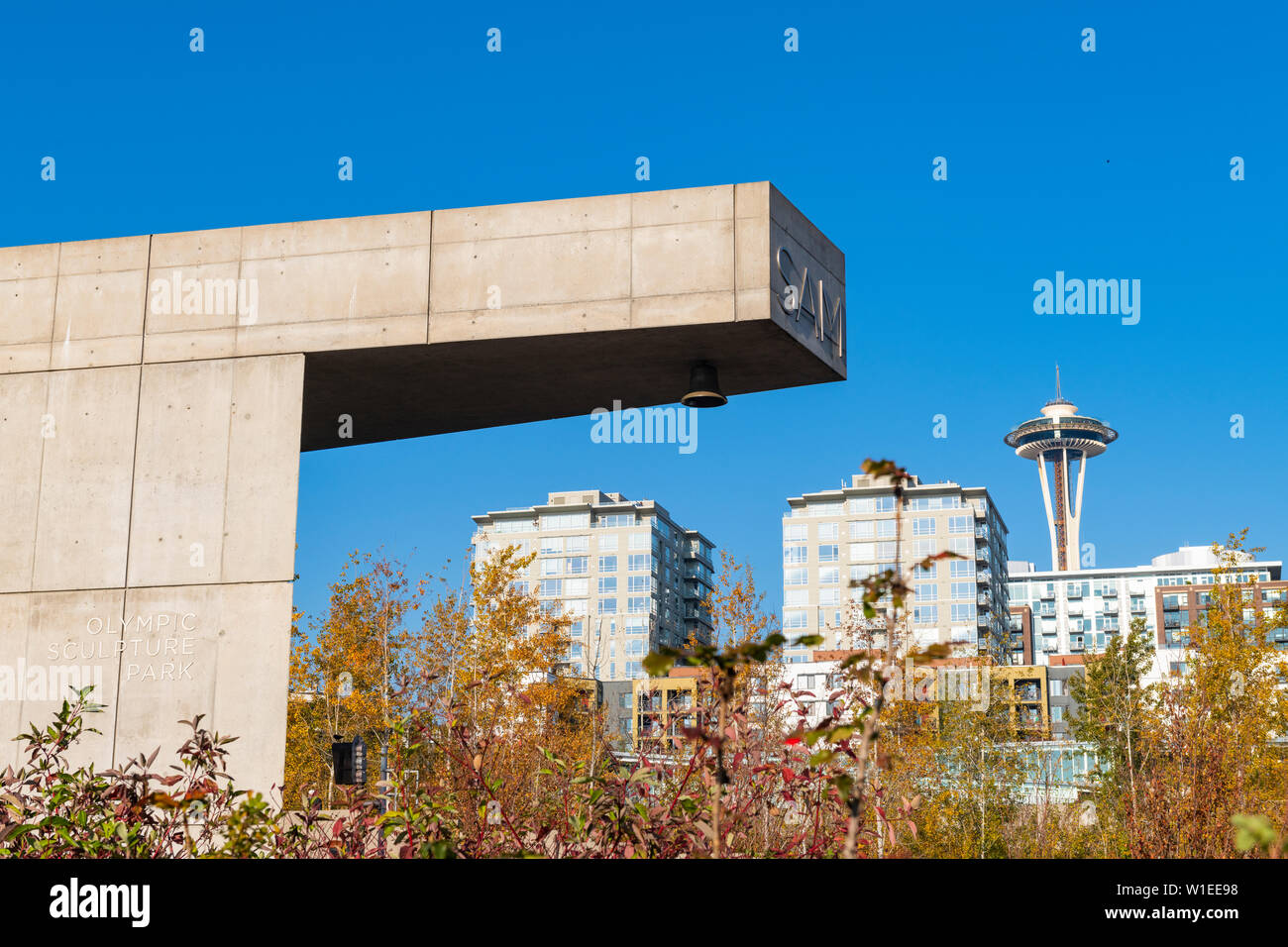 Space Needle from Olympic Sculpture Park, Seattle, Washington State, United States of America, North America - Stock Image