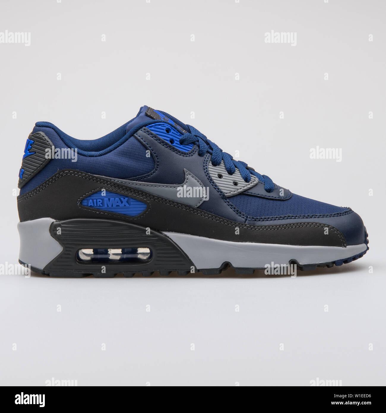 Nike Kids Air Max 90 Mesh GS, BLACKWHITE VIVID PINK, Youth