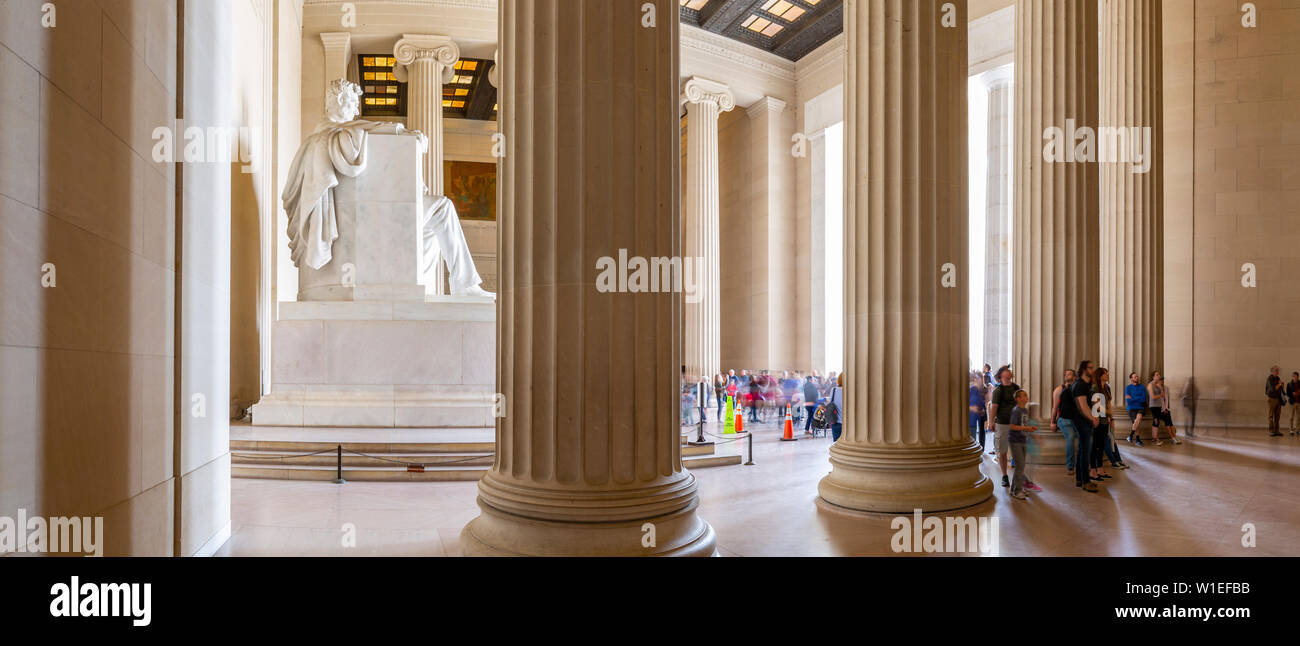 Panoramic view of visitors around the statue of Abraham Lincoln, Lincoln Memorial, Washington, D.C., United States of America, North America Stock Photo