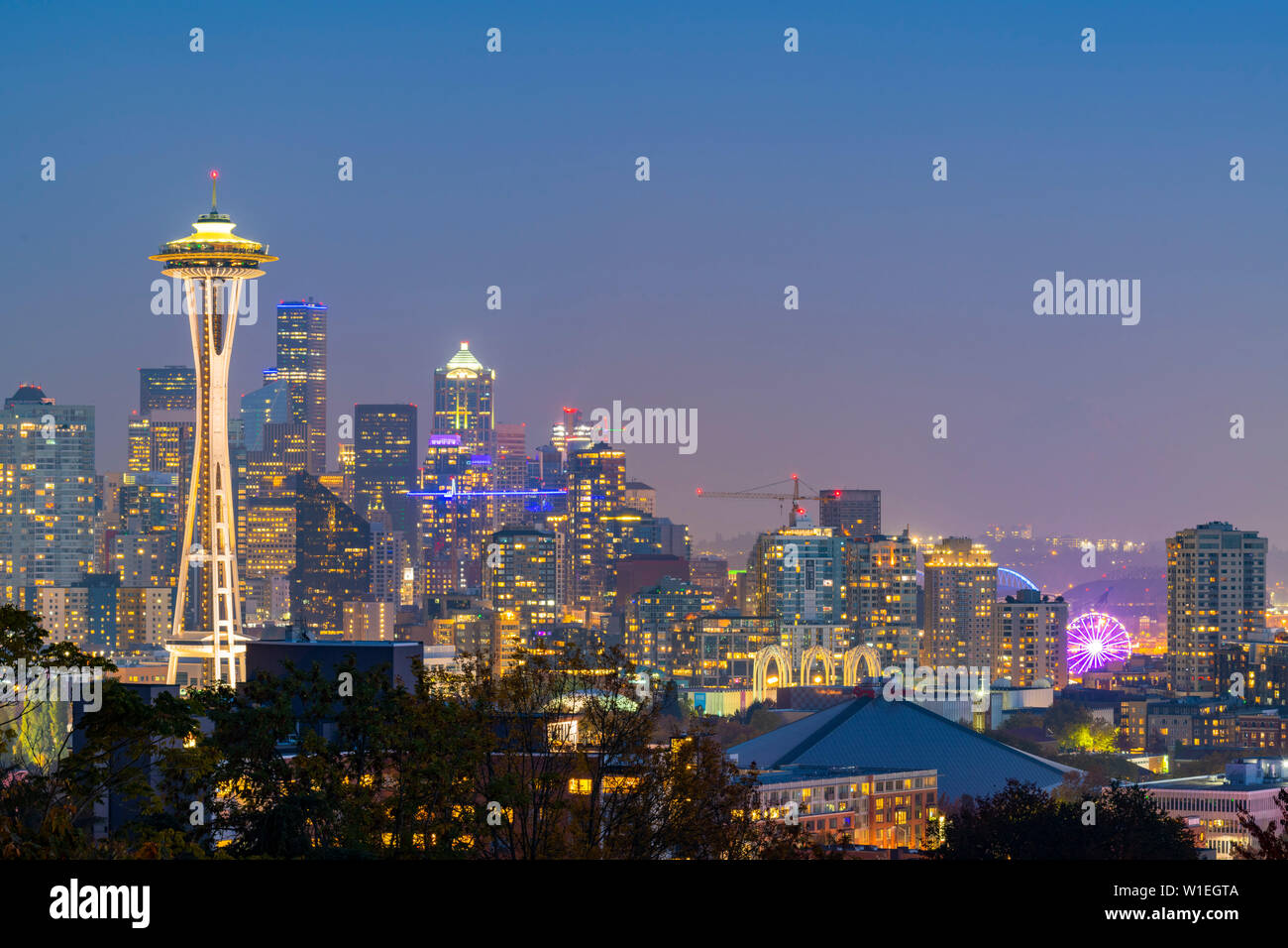 View of the Space Needle from Kerry Park, Seattle, Washington State, United States of America, North America Stock Photo