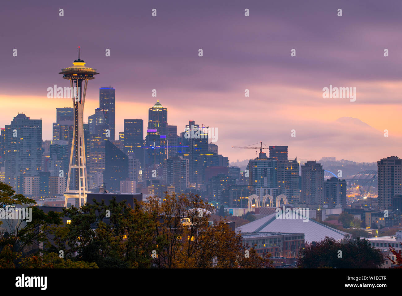 View of the Space Needle from Kerry Park, Seattle, Washington State, United States of America, North America - Stock Image