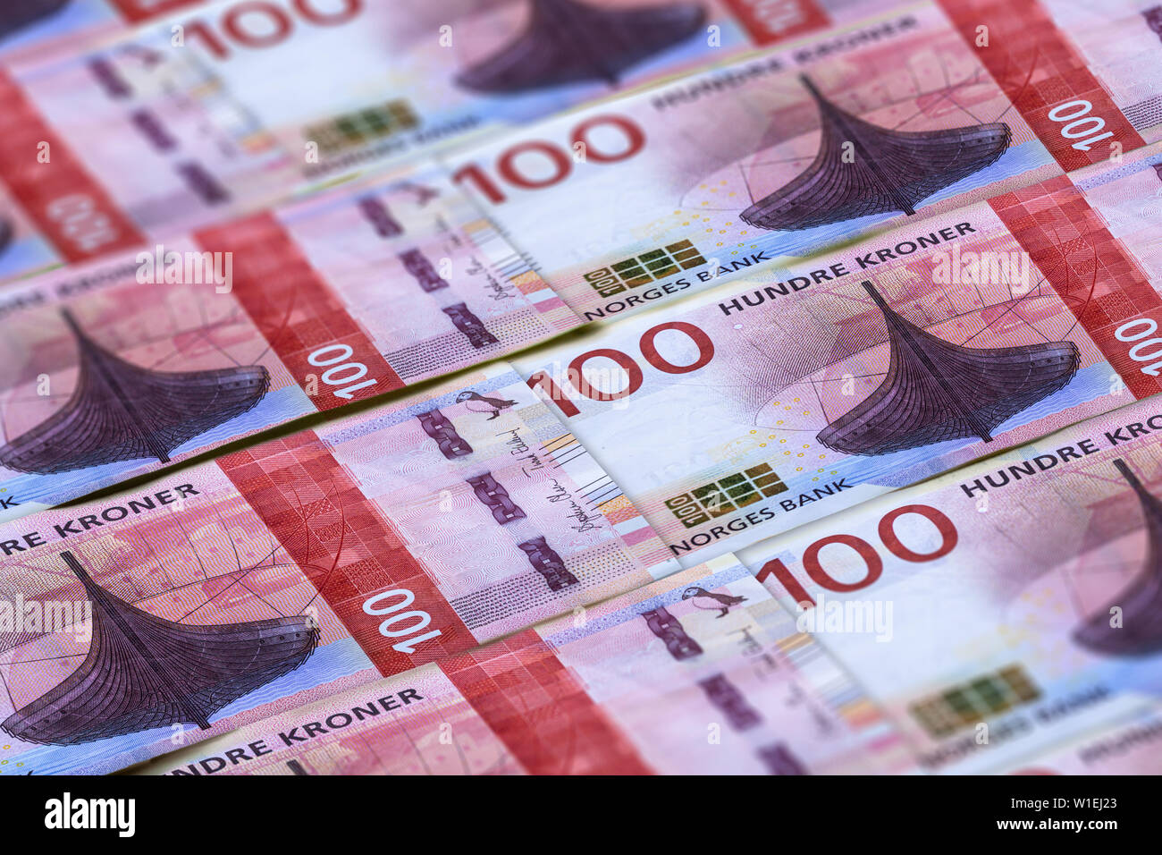 Norwegian currency. Money of Norway closeup background. Hundre kronor - Stock Image