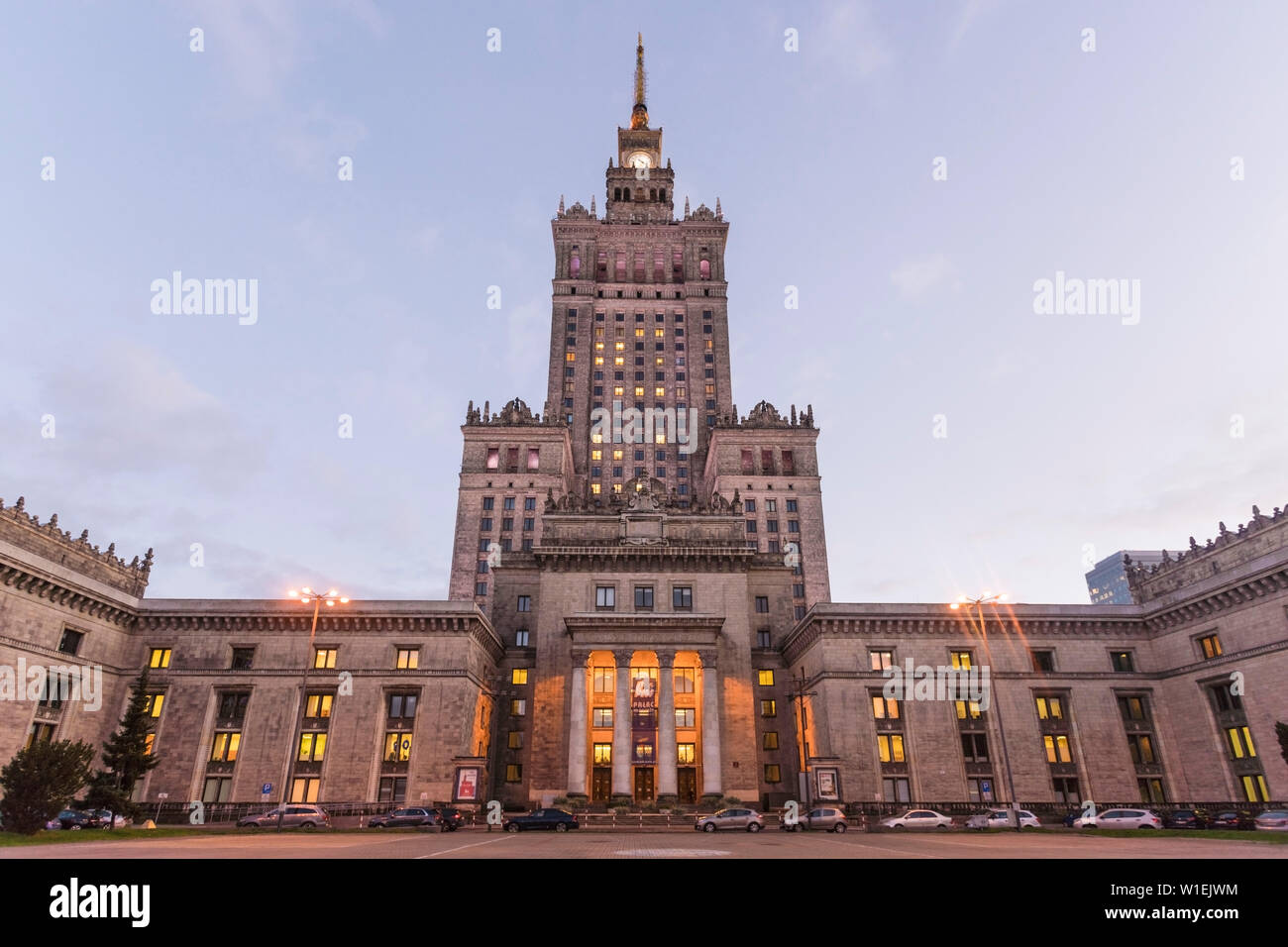 Palace of Culture and Science (Palac Kultury i Nauki), built in the 1950s, Warsaw, Poland, Europe Stock Photo